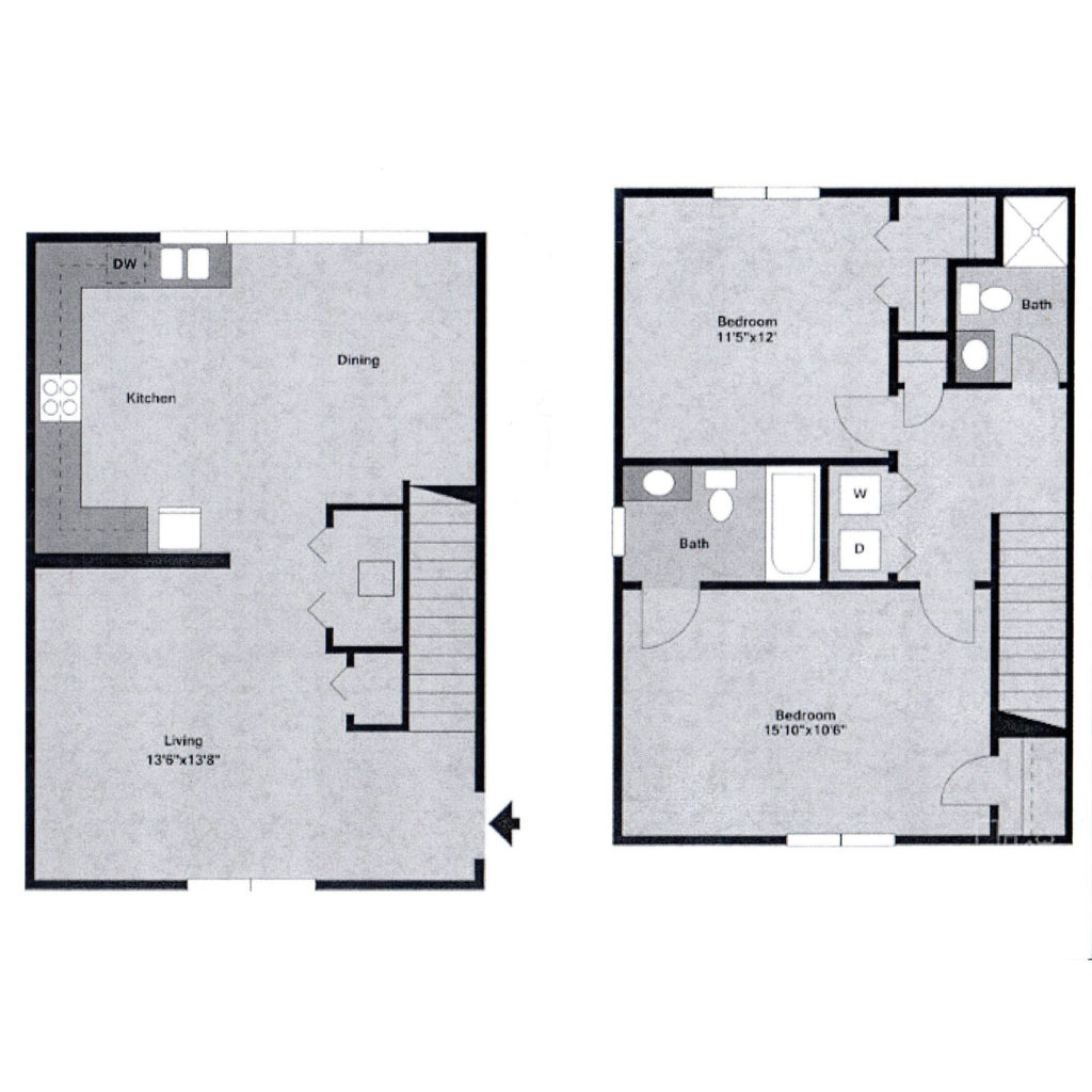 Watergate at milford apartments milford de floor plans for Townhouse layout 3 bedrooms