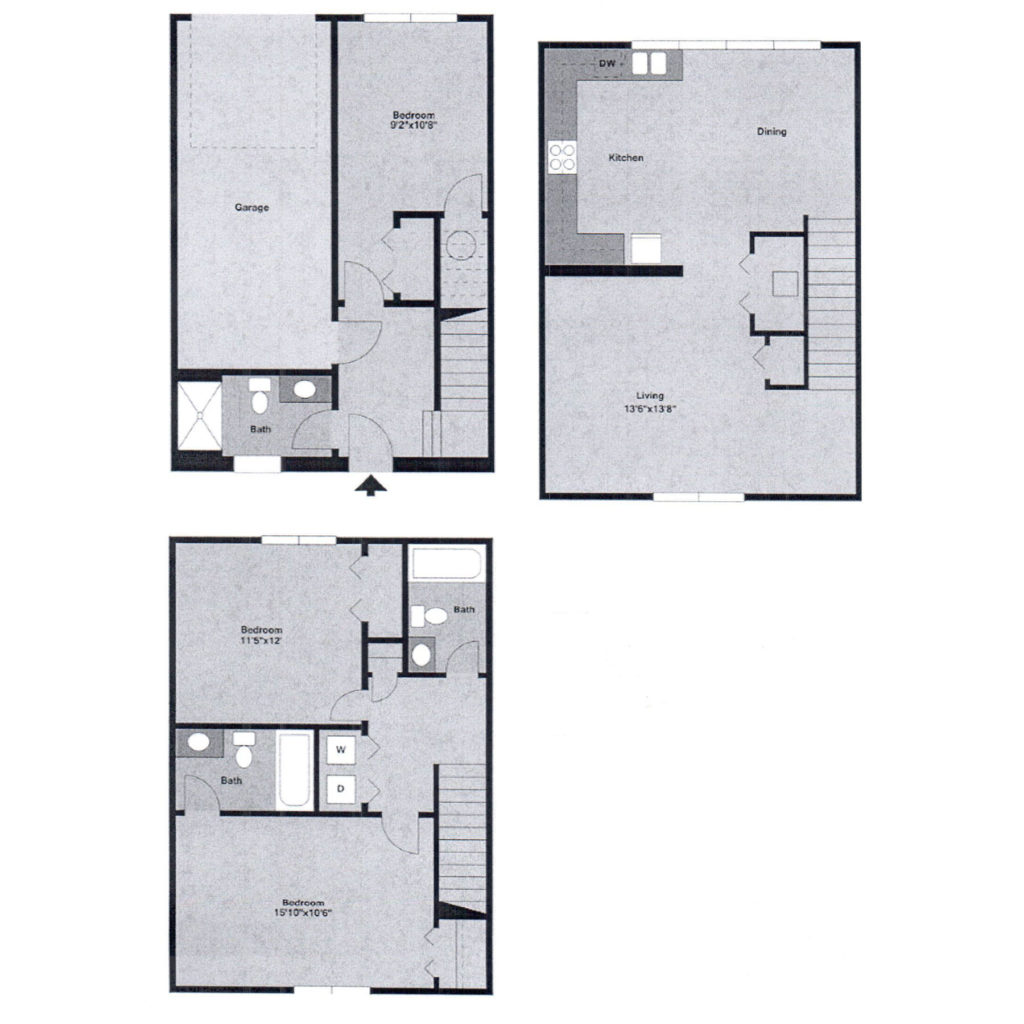 Watergate at milford apartments milford de floor plans for 3 bedroom townhouse plans
